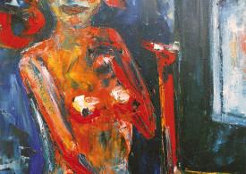 Hubert Roestenburg - Nude with prayer chair - German Expressionism