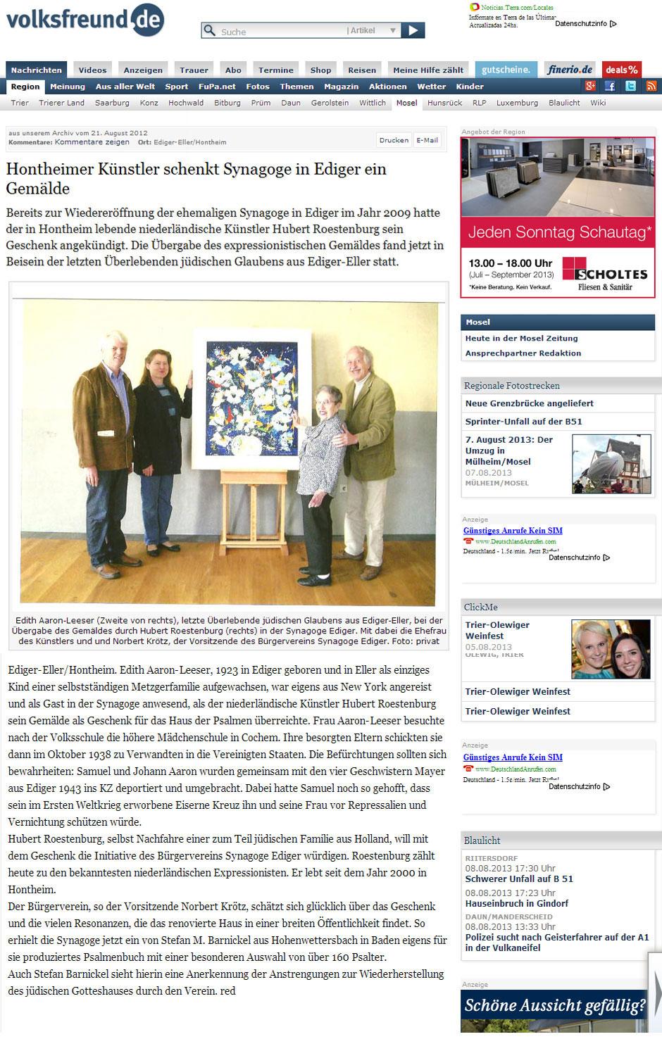 Hubert Roestenburg donates painting to synagogue
