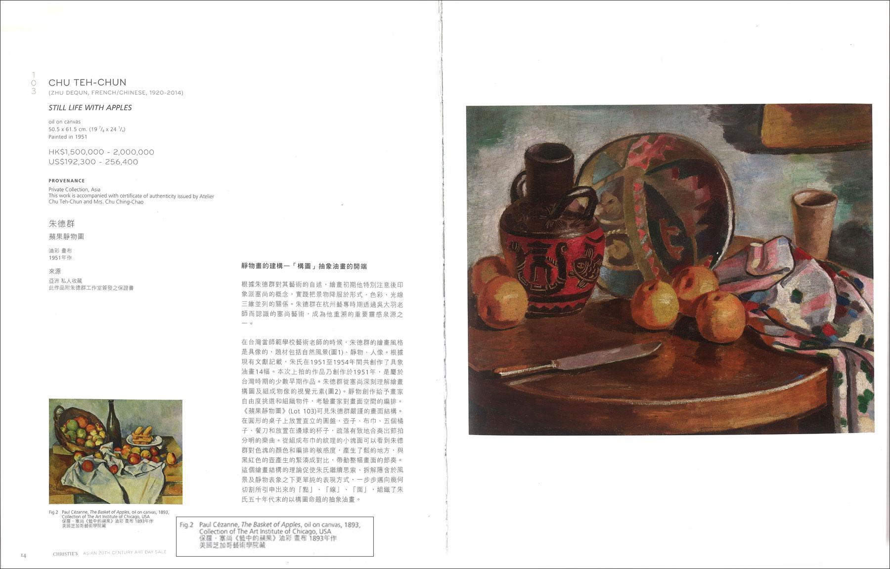 Chu Teh-Chun painting with Paul-Cezanne painting